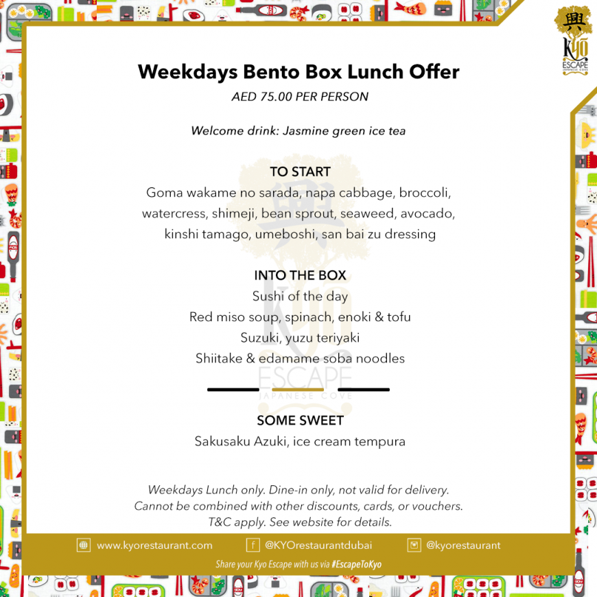 Weekdays Bento box lunch offer