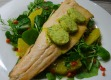 Trout with Orange, Dill Butter & Watercress Salad